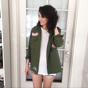 Topshop green military jacket